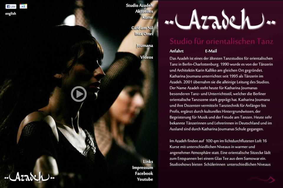 Azadeh Orientalischer Tanz Bauchtanz Christian Bennat Website Design Flash HTML PHP UX UI