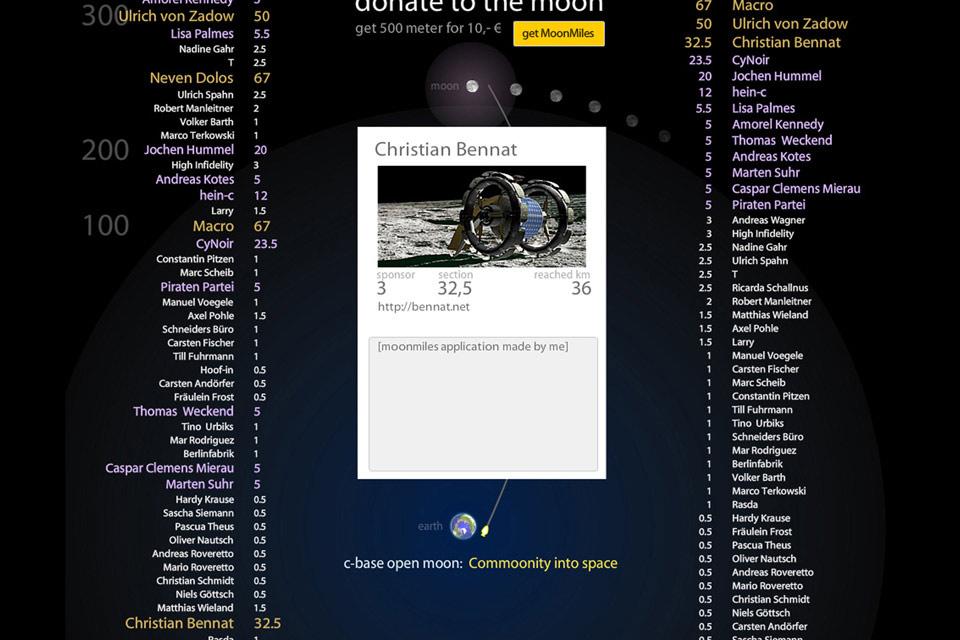 GLXP Google Lunar Xprice c-base Open moon Openmoon Moonmiles Christian Bennat Projekt Konzept Design UX UI Neven Dolos