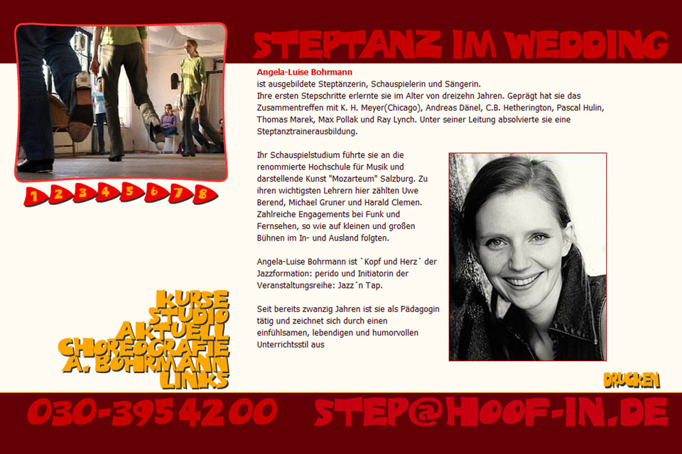 Hoofin Steptanz Studio Angela Bohrmann Christian Bennat Website Design Flash UX UI