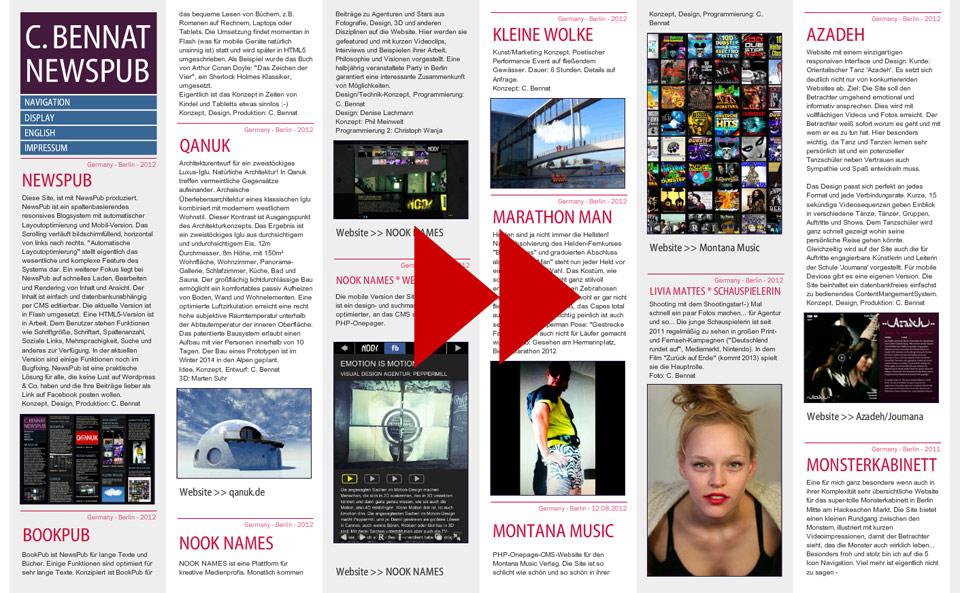 NewsPub CMS Blog Bennat Konzept Design Flash UX UI PHP HTML Programmierung Projekt