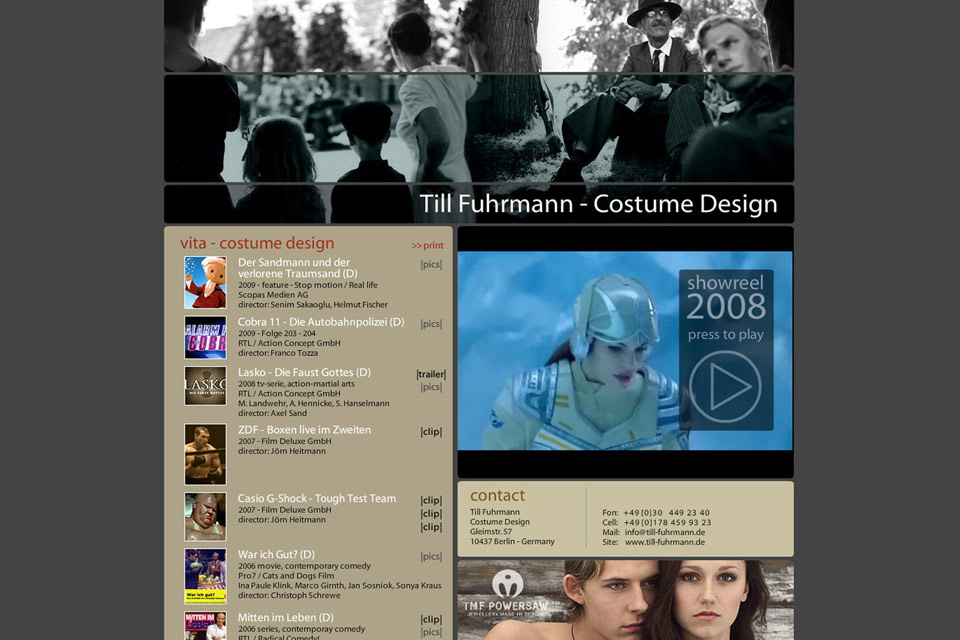 Till 2008 Fuhrmann Costume Design Bennat Website Flash HTML PHP UX UI Illustration