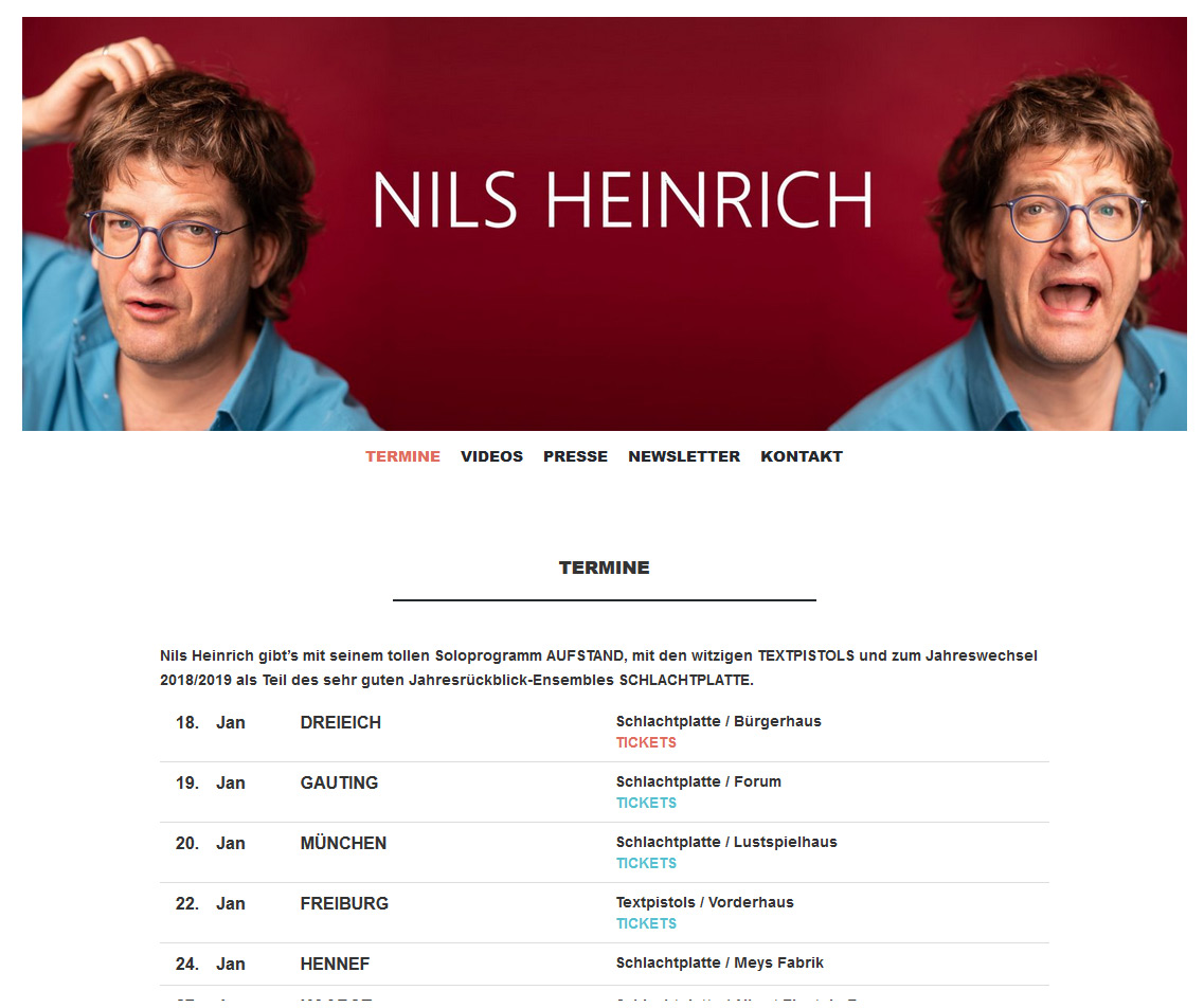 Nils Heinrich Website WordPress Christian Bennat Design Administration