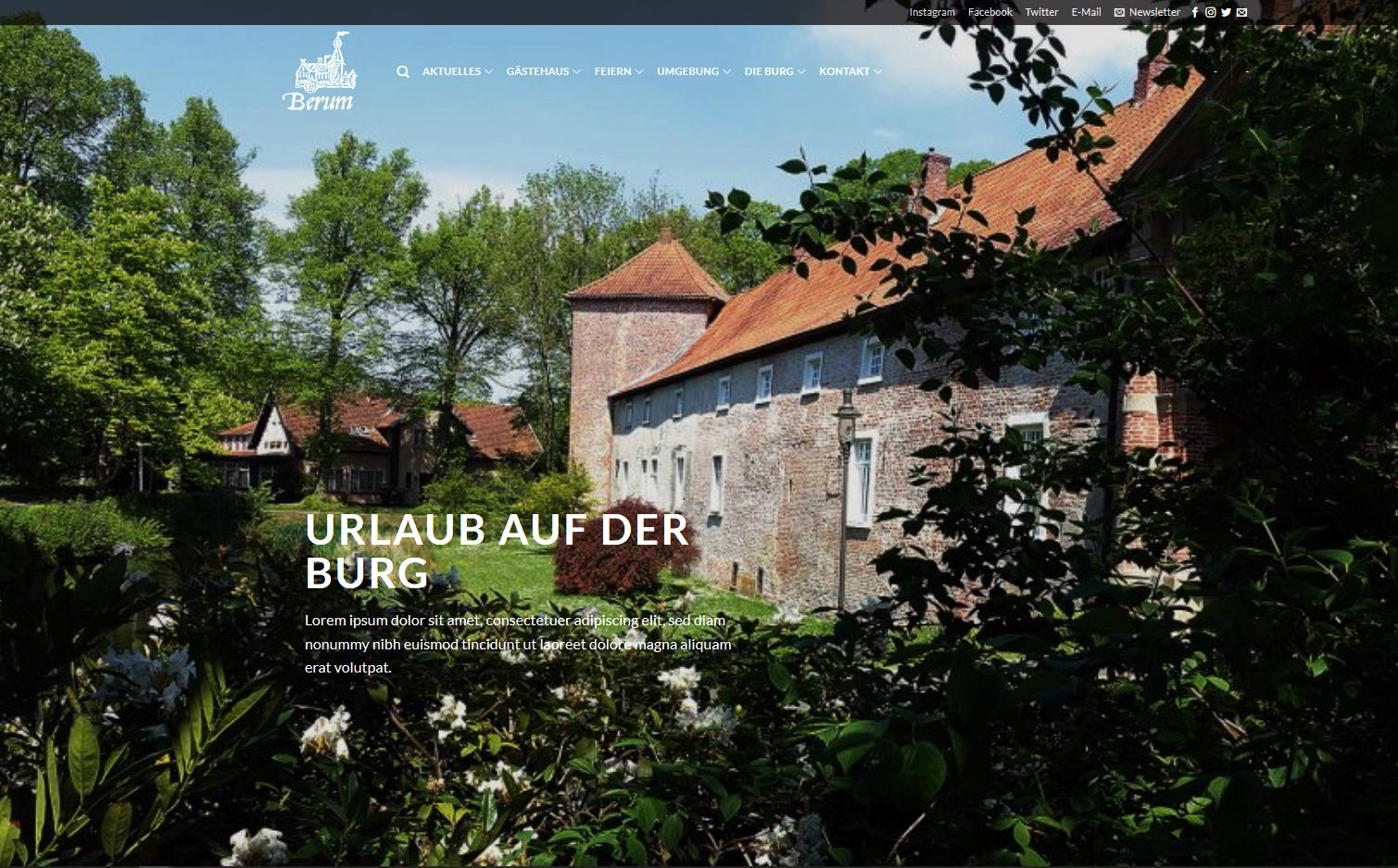 Burg Berum, WordPress, Christian Bennat, Design, Programmierung, Wartung, Berlin, Friedenau