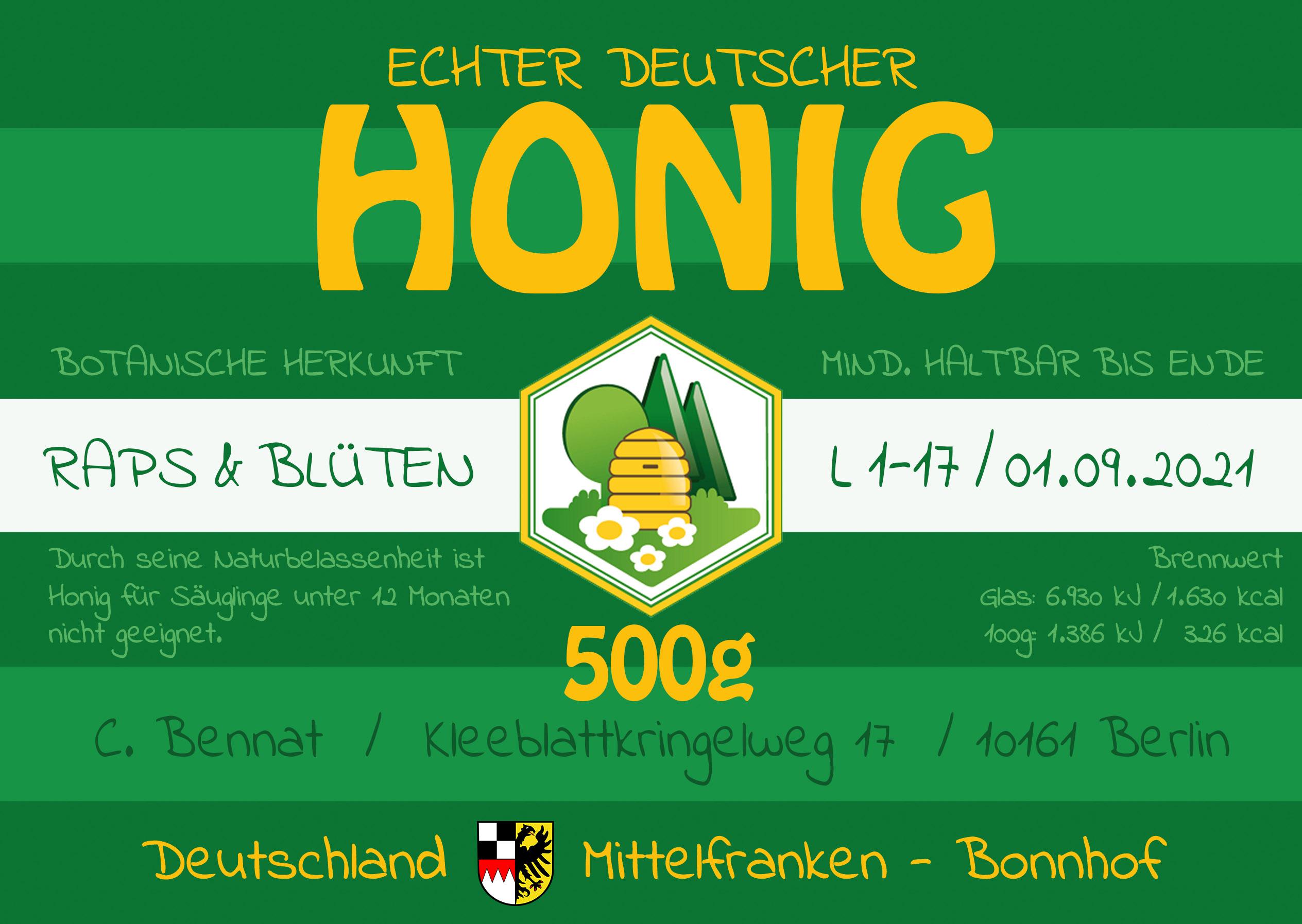 Honig Honigglas Label Aufkleber entsprechend deutsche Vorschrift Standard Regelung Stefan Echart Bonnhof Christian Bennat Design Layout