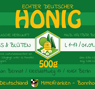 Echter Deutscher Honig * Label Layout